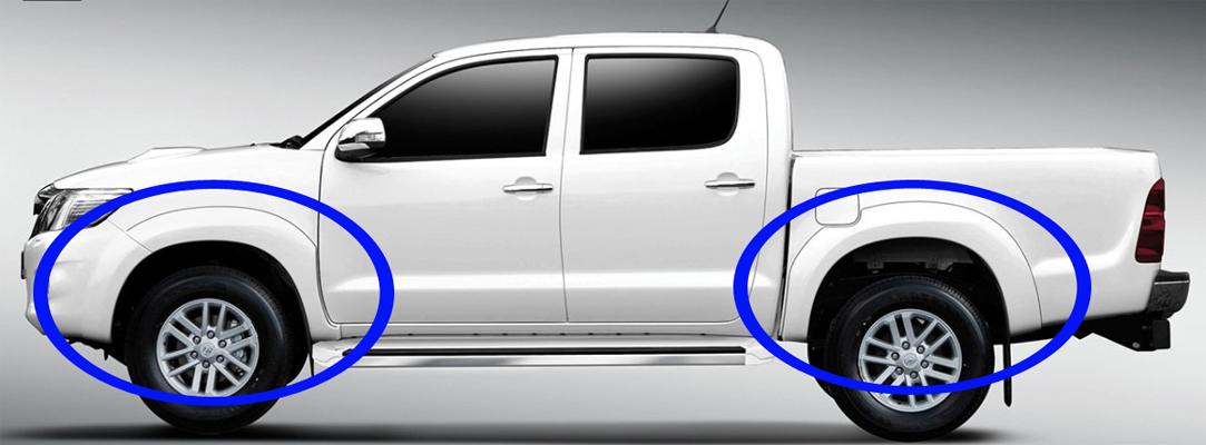 Расширители колесных арок для Toyota HiLux 2011-2015 из ABS пластика производства AEROKLAS